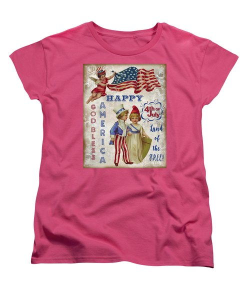 Women's T-Shirt (Standard Cut) featuring the digital art Retro Patriotic-c by Jean Plout