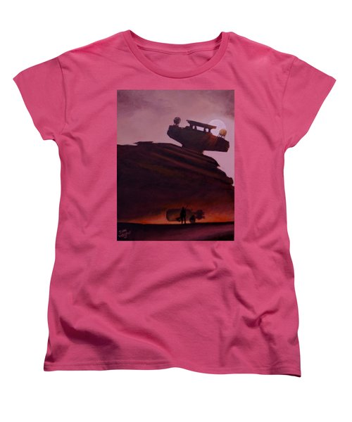 Women's T-Shirt (Standard Cut) featuring the painting Rey Looks On by Dan Wagner