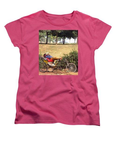 Rickshaw Rider Relaxing Women's T-Shirt (Standard Cut) by Travel Pics