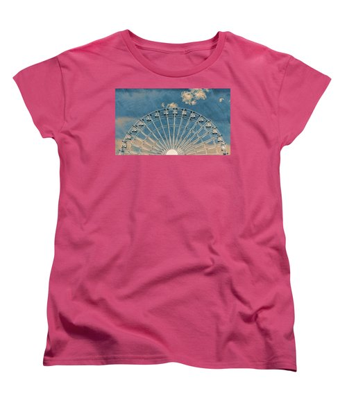 Rise Up Ferris Wheel In The Clouds Women's T-Shirt (Standard Cut) by Terry DeLuco