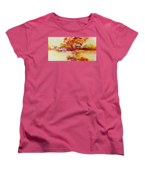 Women's T-Shirt (Standard Cut) featuring the painting Riverscape In Red by Carolyn Rosenberger