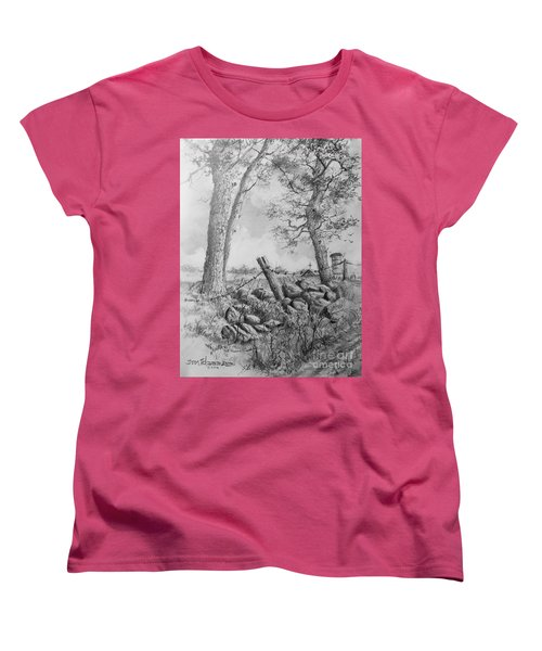 Women's T-Shirt (Standard Cut) featuring the drawing Road Home by Jim Hubbard