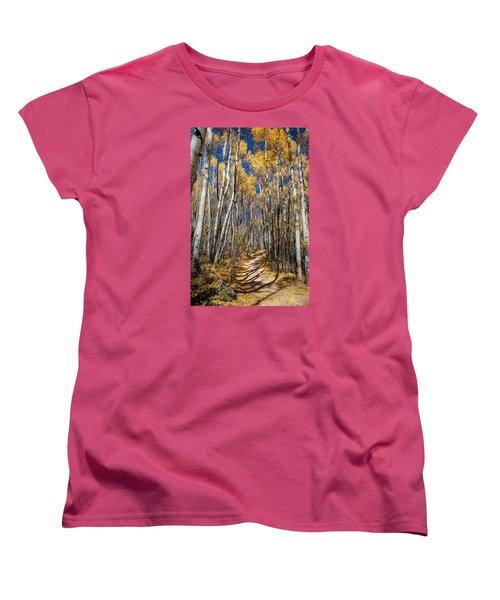 Road Through Aspens Women's T-Shirt (Standard Cut) by Michael J Bauer