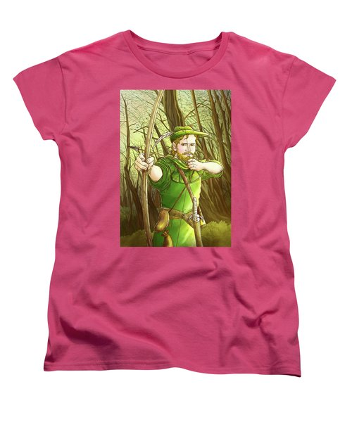 Robin  Hood In Sherwood Forest Women's T-Shirt (Standard Cut) by Reynold Jay