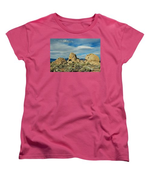 Women's T-Shirt (Standard Cut) featuring the photograph Rock Formations At Pyramid Lake by Benanne Stiens
