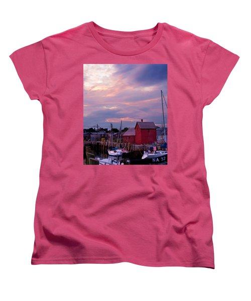 Women's T-Shirt (Standard Cut) featuring the photograph Rockport Sunset Over Motif #1 by Jeff Folger