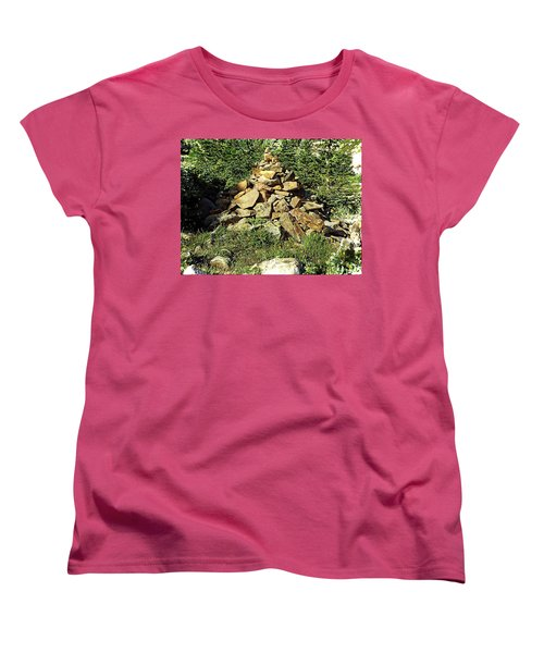 Women's T-Shirt (Standard Cut) featuring the photograph Rocky Mountain Cairn by Joseph Hendrix