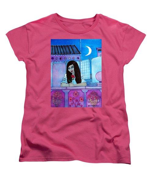 Romantic Woman In The Terrace At Night Women's T-Shirt (Standard Cut) by Don Pedro De Gracia