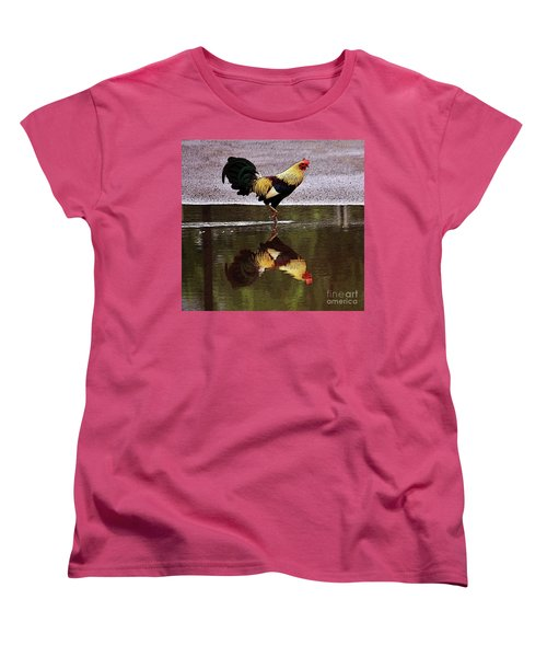 Rooster's Reflection Women's T-Shirt (Standard Cut) by Craig Wood