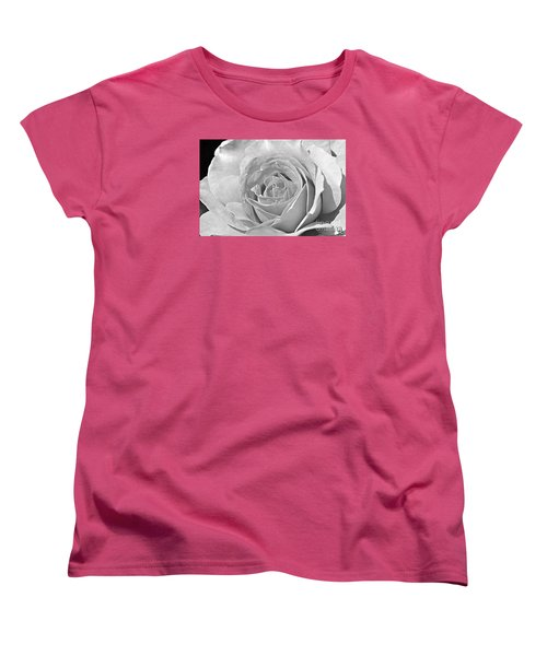 Rose In Black And White Women's T-Shirt (Standard Cut) by Mindy Bench