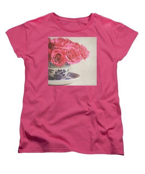 Women's T-Shirt (Standard Cut) featuring the photograph Rose Tea by Lyn Randle