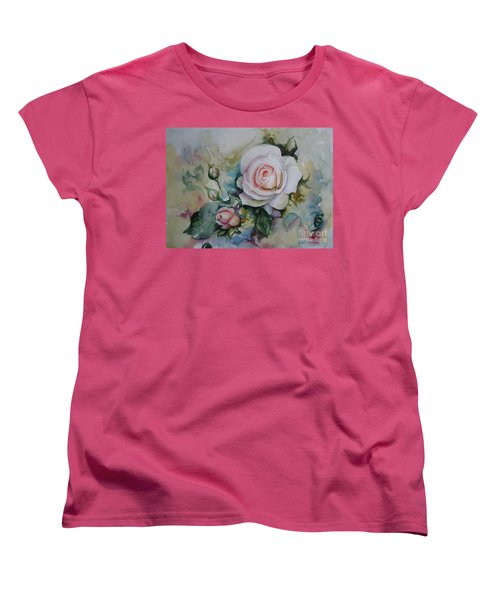 Women's T-Shirt (Standard Cut) featuring the painting Roses by Elena Oleniuc