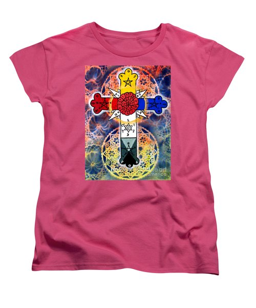 Rosy Cross Women's T-Shirt (Standard Cut) by Luke Galutia