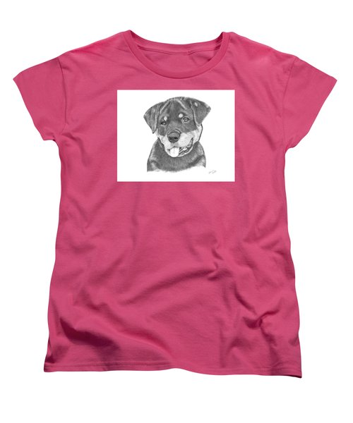 Women's T-Shirt (Standard Cut) featuring the drawing Rottweiler Puppy- Chloe by Patricia Hiltz