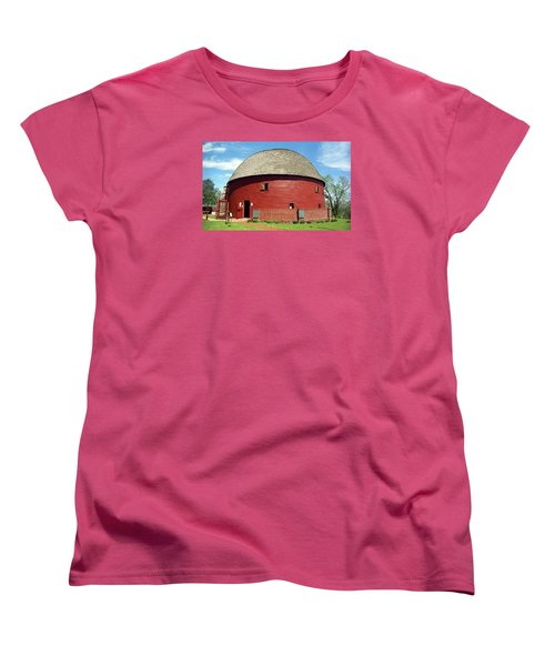 Route 66 - Round Barn Women's T-Shirt (Standard Cut) by Frank Romeo