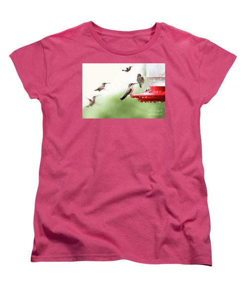 Women's T-Shirt (Standard Cut) featuring the photograph Ruby-throated Hummingbirds by Stephanie Frey