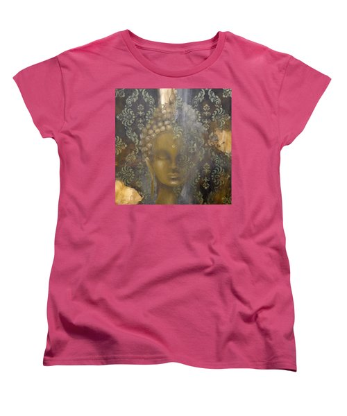 Women's T-Shirt (Standard Cut) featuring the painting Ruined Palace Buddha by Dina Dargo