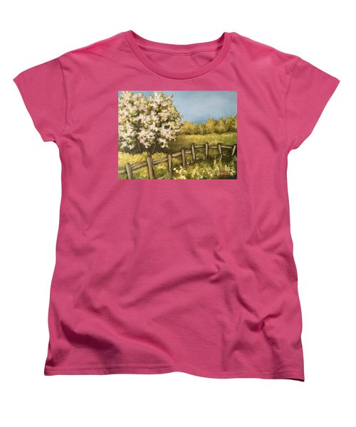 Women's T-Shirt (Standard Cut) featuring the painting Rural Spring by Inese Poga