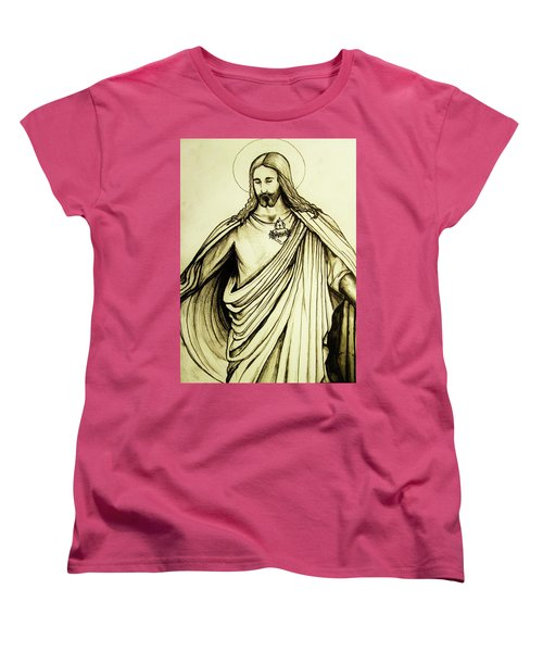 Sacred Heart Women's T-Shirt (Standard Cut) by Mary Ellen Frazee