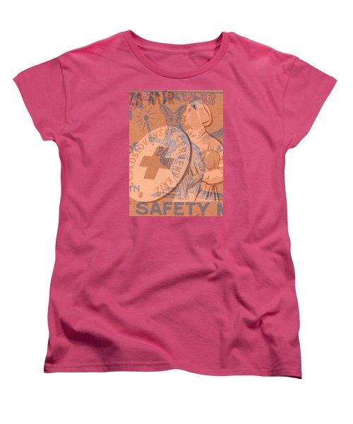 Safety Kangaroo First Women's T-Shirt (Standard Cut) by Nop Briex