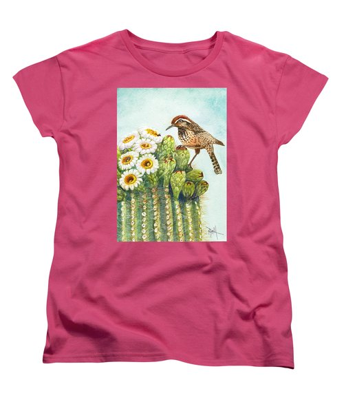 Women's T-Shirt (Standard Cut) featuring the painting Saguaro And Cactus Wren by Marilyn Smith