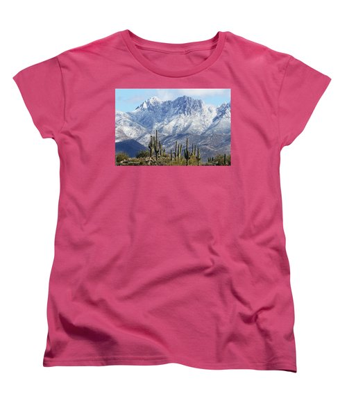 Saguaros At Four Peaks With Snow Women's T-Shirt (Standard Cut) by Tom Janca