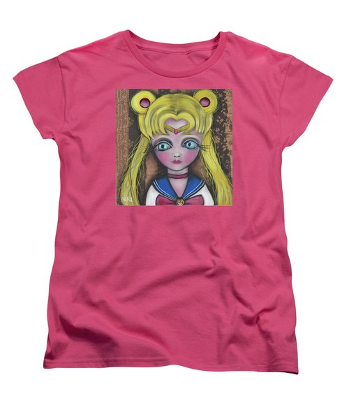 Sailor Moon Women's T-Shirt (Standard Cut) by Abril Andrade Griffith