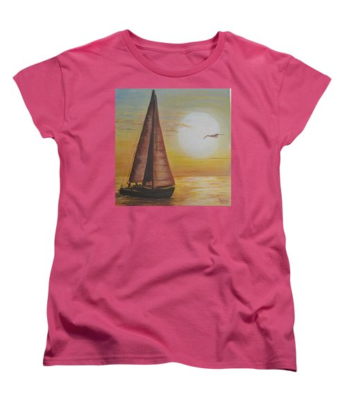 Sails In The Sunset Women's T-Shirt (Standard Cut) by Debbie Baker