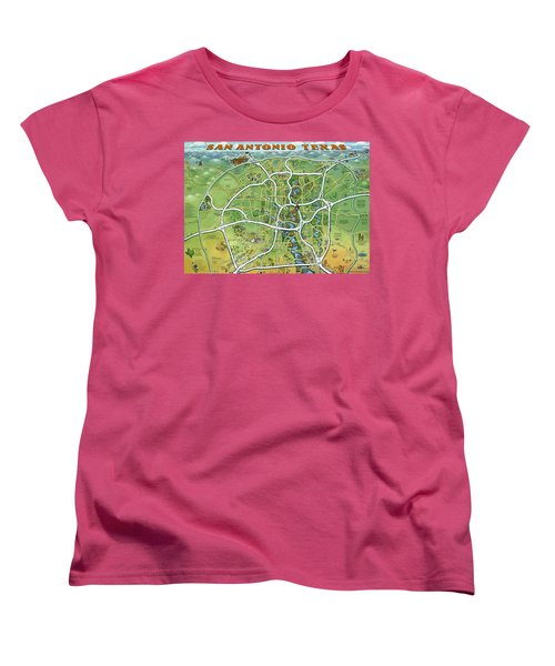 San Antonio Texas Cartoon Map Women's T-Shirt (Standard Cut) by Kevin Middleton