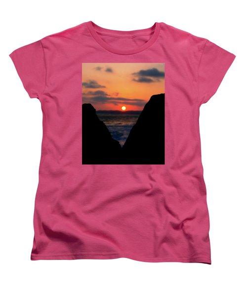 San Clemente Beach Rock View Sunset Portrait Women's T-Shirt (Standard Cut) by Matt Harang