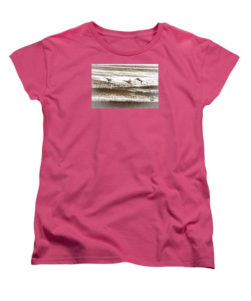 Women's T-Shirt (Standard Cut) featuring the photograph Sandhill Touch Down by Daniel Hebard