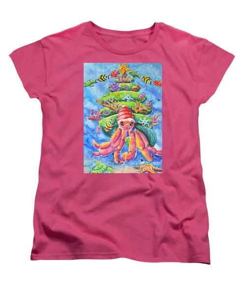Women's T-Shirt (Standard Cut) featuring the painting Santa Crab by Li Newton