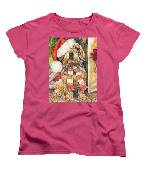 Women's T-Shirt (Standard Cut) featuring the drawing Santas Little Yelper by Barbara Keith