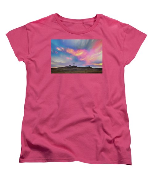 Women's T-Shirt (Standard Cut) featuring the photograph Satellite Dishes Quiet Communications To The Skies by James BO Insogna