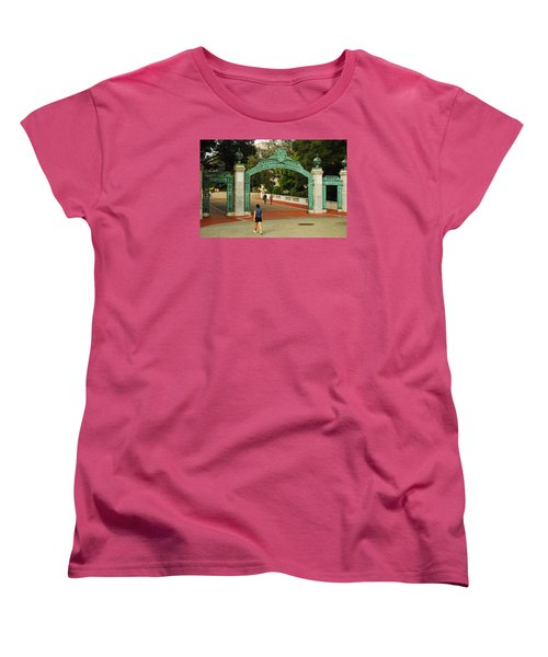 Women's T-Shirt (Standard Cut) featuring the photograph Sather Gate Berkeley by James Kirkikis