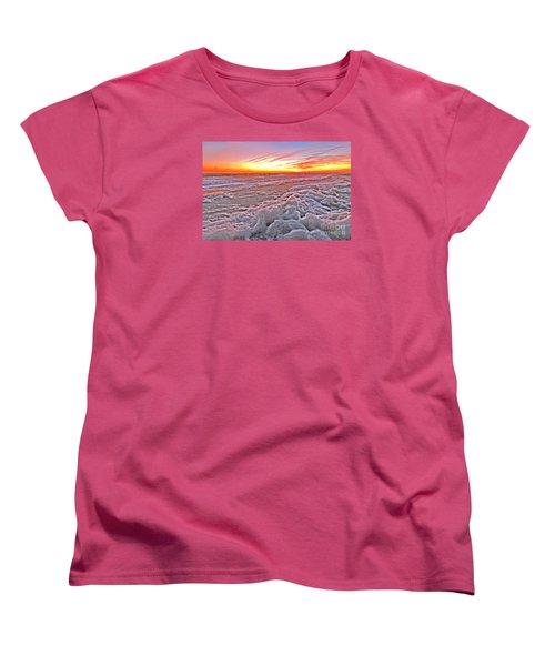 Women's T-Shirt (Standard Cut) featuring the photograph Sea Foam Sunset by Shelia Kempf