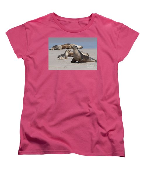 Women's T-Shirt (Standard Cut) featuring the photograph Sea Lions by Werner Padarin