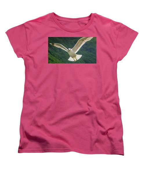 Seagull At The Fjord Women's T-Shirt (Standard Cut) by KG Thienemann