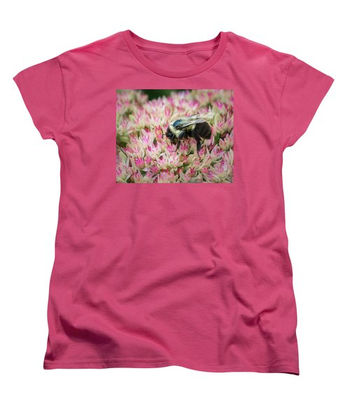 Women's T-Shirt (Standard Cut) featuring the photograph Sedum Bumbler by Bill Pevlor