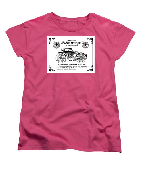 Women's T-Shirt (Standard Cut) featuring the mixed media See New 1914 Indian Motocycle At The Auto Show by Daniel Hagerman