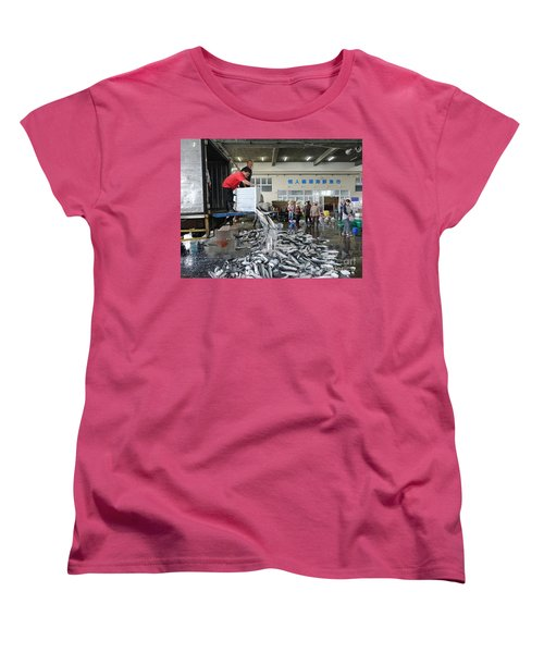 Women's T-Shirt (Standard Cut) featuring the photograph Selling Grey Mullet Fish In Taiwan by Yali Shi