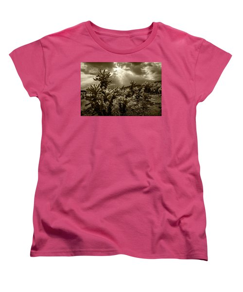 Women's T-Shirt (Standard Cut) featuring the photograph Sepia Tone Of Cholla Cactus Garden Bathed In Sunlight by Randall Nyhof