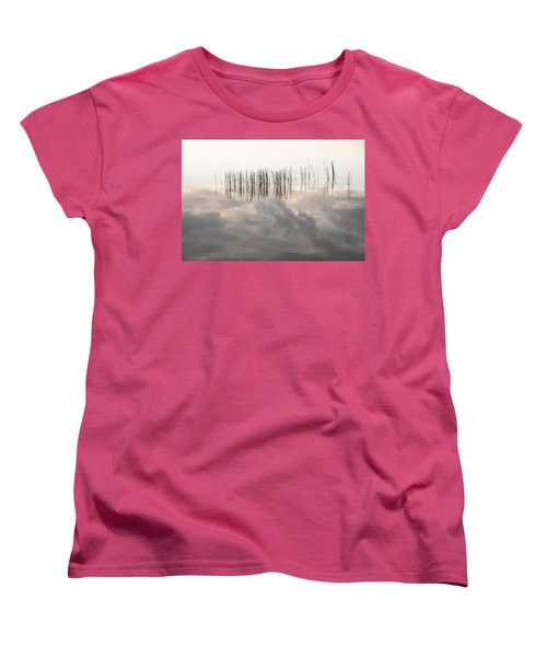 Serenity Dwells Here Where Tranquil Water Flow Cloaked  In Hues Of Love Women's T-Shirt (Standard Cut) by Jenny Rainbow