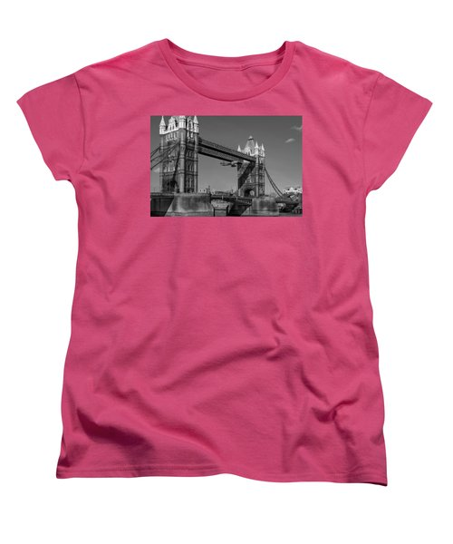Seven Seconds - The Tower Bridge Hawker Hunter Incident Bw Versio Women's T-Shirt (Standard Cut) by Gary Eason