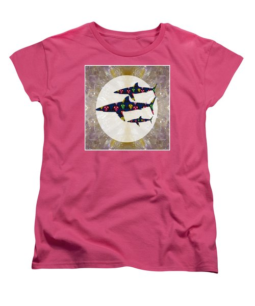 Shark Fish Dangerous Painted Cartoon Face Link For Download Option Below Personal N Commercial Uses Women's T-Shirt (Standard Cut) by Navin Joshi