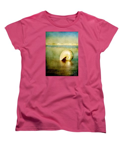 Women's T-Shirt (Standard Cut) featuring the photograph Shell In Sand by Linda Olsen