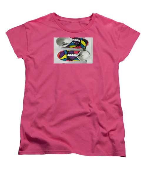 Women's T-Shirt (Standard Cut) featuring the painting Shoe Art - 008 by Mudiama Kammoh