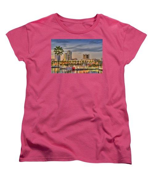 Shoreline Village Rainbow Harbor Marina Women's T-Shirt (Standard Cut) by David Zanzinger