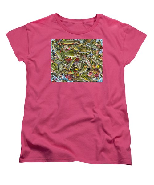 Women's T-Shirt (Standard Cut) featuring the painting Side Fish Collage by Jon Q Wright JQ Licensing