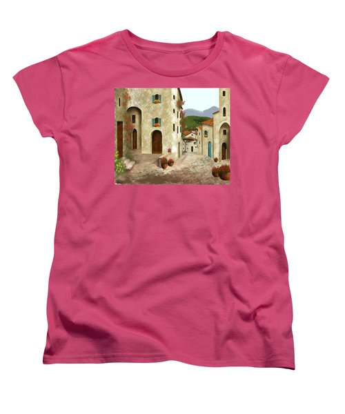 side streets of Tuscany Women's T-Shirt (Standard Cut) by Larry Cirigliano